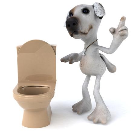 Cartoon dog and toilet bowl Banco de Imagens