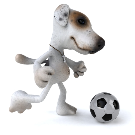 domesticated: Cartoon dog with soccer ball