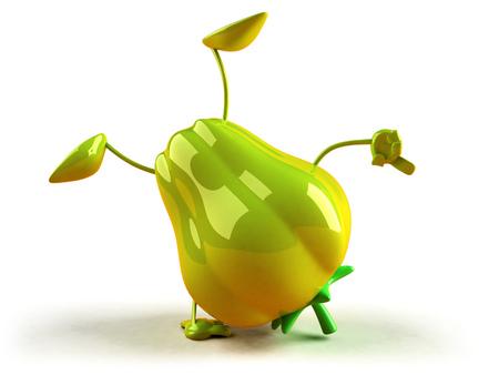 Cartoon green bell pepper doing handstand