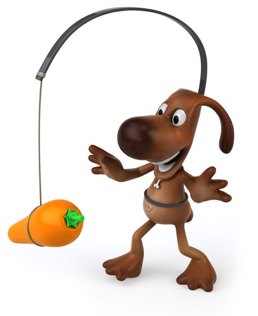 Cartoon dog with carrot and stick concept