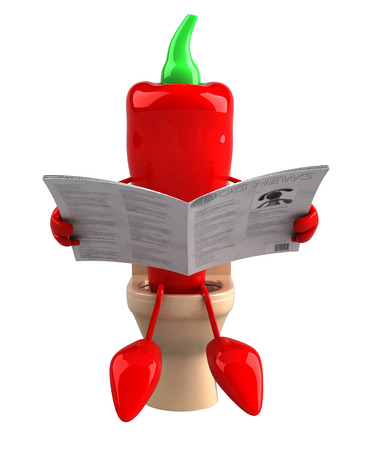 Cartoon red pepper on toilet bowl reading newspaper