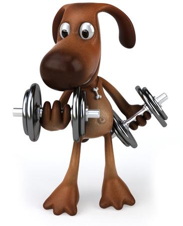 Cartoon dog lifting weights