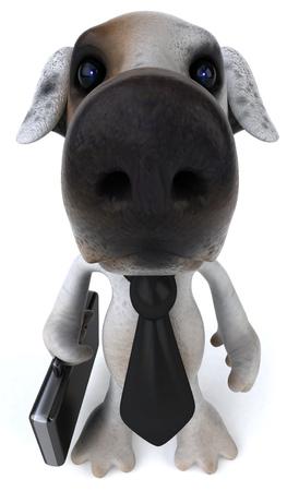Cartoon dog with businessman concept