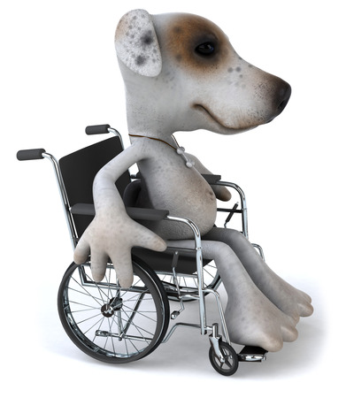 Cartoon dog on wheelchair