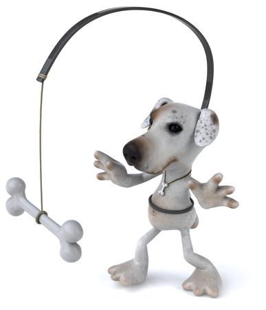 Cartoon dog with dog bone on a stick