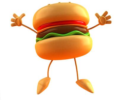 Cartoon burger jumping