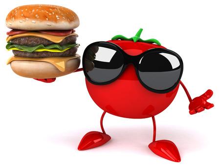 vegetarian hamburger: Fun tomato Stock Photo