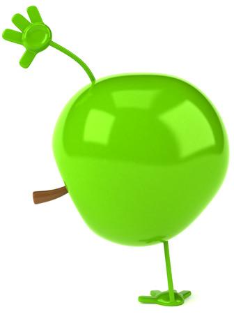Cartoon apple doing handstand