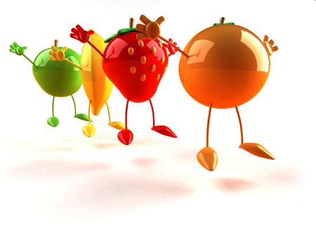 Cartoon fruits jumping