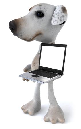 Cartoon dog with laptop