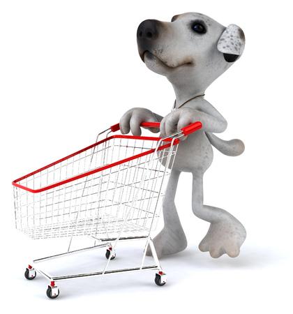 Cartoon dog with shopping cart Banco de Imagens