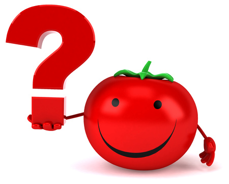 eating questions: Fun tomato Stock Photo