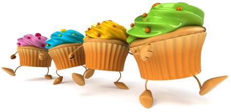 Cartoon cupcakes are walking Banco de Imagens