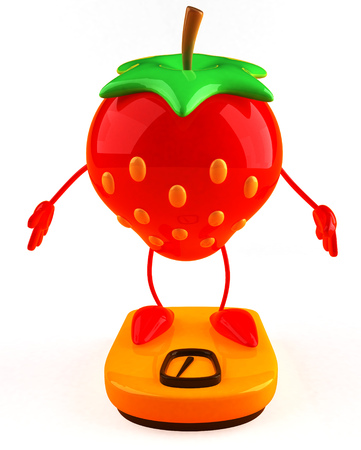 weight machine: Cartoon strawberry on weighing scale Stock Photo