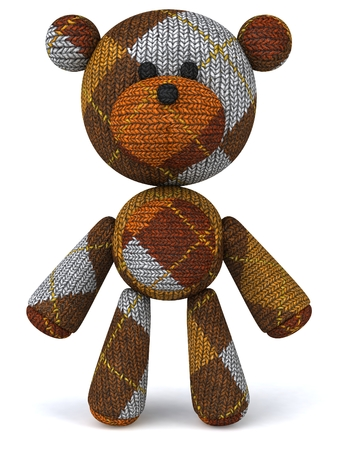 Cartoon gebreide teddybeer staande