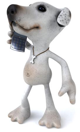 Cartoon dog with smartphone