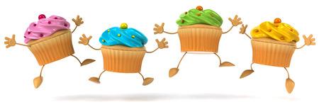 Cartoon cupcakes are jumping Banco de Imagens