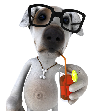 Cartoon dog with glasses drinking cocktail