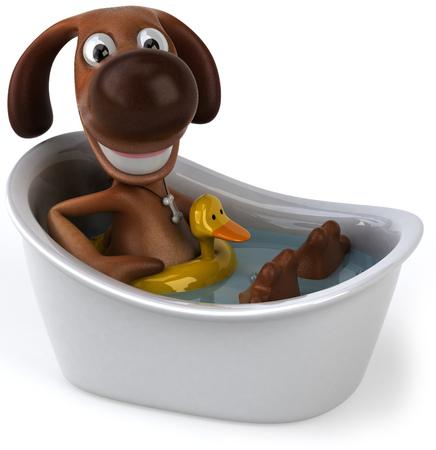 Cartoon dog in a bathtub