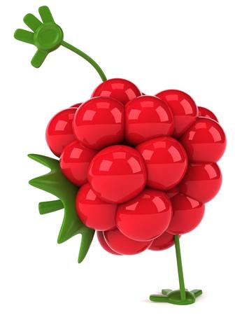 Cartoon raspberry doing handstand
