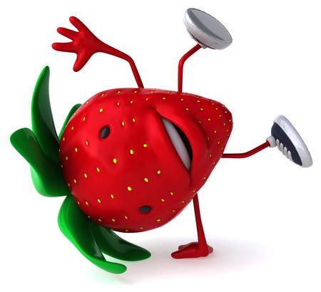 Cartoon strawberry doing handstand Stock Photo