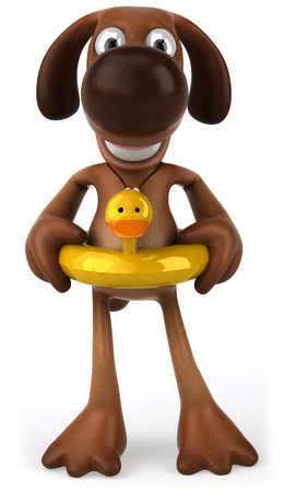 Cartoon dog with duck buoy