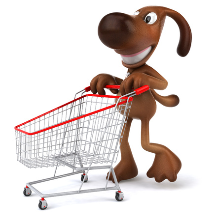 Cartoon dog pushing shopping cart Stock Photo