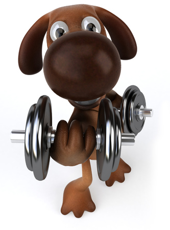 Cartoon dog lifting weights