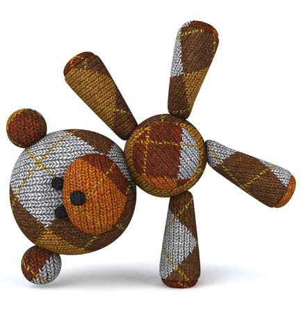 Cartoon knitted teddy bear doing handstand