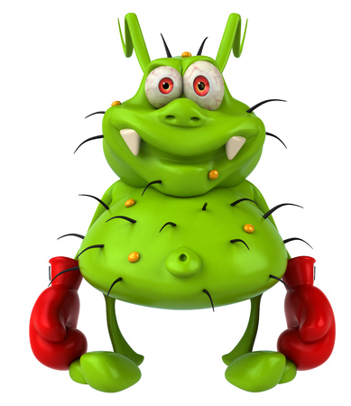 padding: Cartoon germ monster with boxing gloves