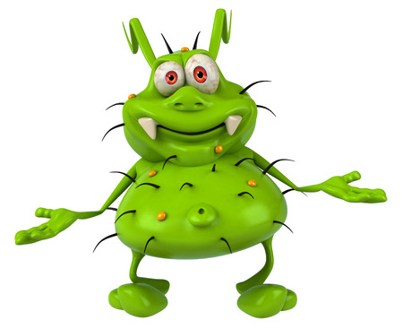 Cartoon germ monster with hand gesture Stock Photo