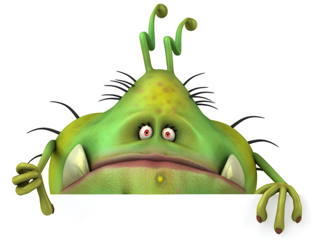 Cartoon germ monster showing thumbs down