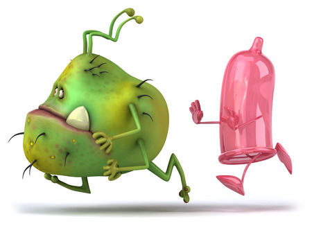 pouch: Cartoon germ monster chased by a condom