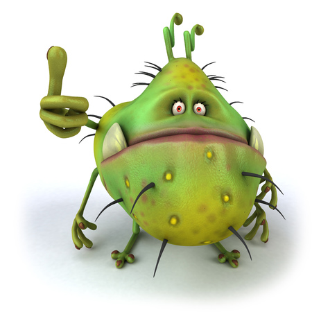 Cartoon germ monster showing thumbs up