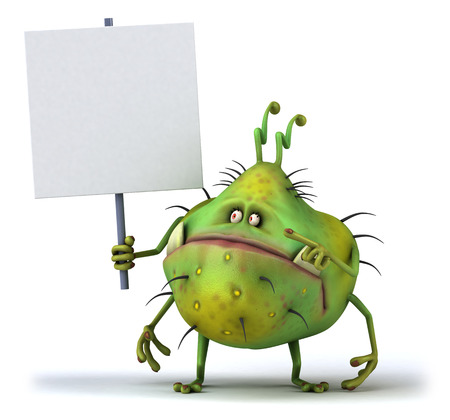 Cartoon germ monster with a signboard Stock Photo
