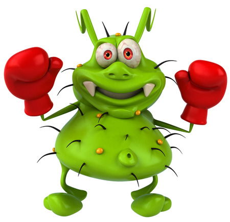 Cartoon germ monster with boxing gloves