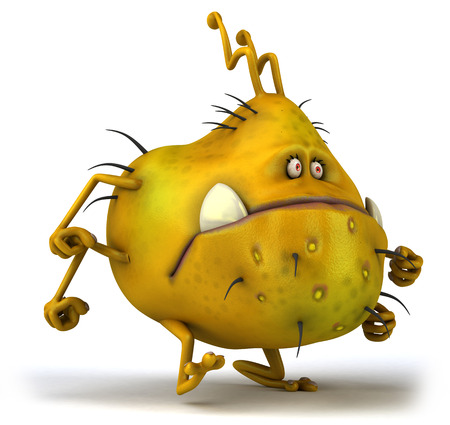 Cartoon germ monster running