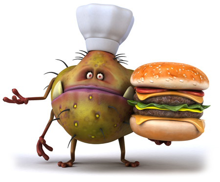 Cartoon germ monster with chef hat holding a burger Stock Photo