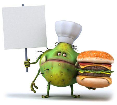 Cartoon germ monster with chef hat holding a burger and signboard