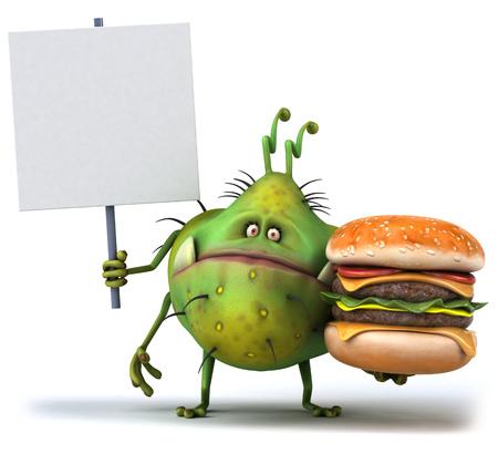 햄버거를 들고 간판이있는 만화 세균 괴물 스톡 콘텐츠