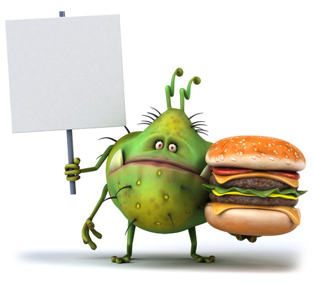 Cartoon germ monster with a signboard holding a burger Stok Fotoğraf
