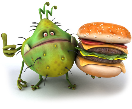 Cartoon germ monster with a burger showing thumbs up