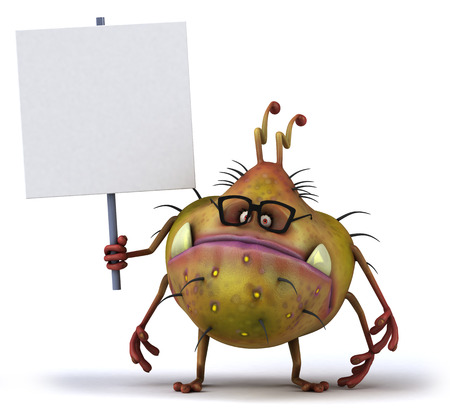 Cartoon germ monster with glasses holding a signboard Stock Photo