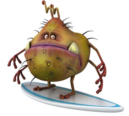 Cartoon germ monster on surfboard Stock Photo