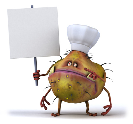 space antenna: Cartoon germ monster with chef hat holding signboard Stock Photo