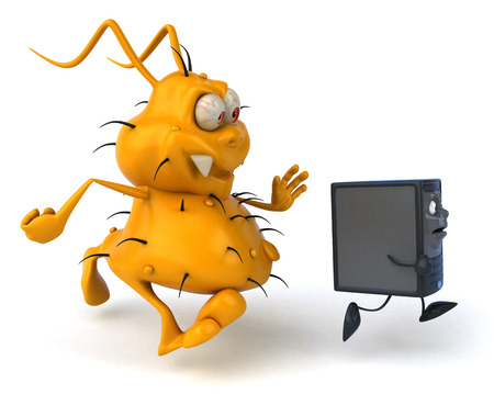 antennae: Cartoon germ monster chasing after a CPU