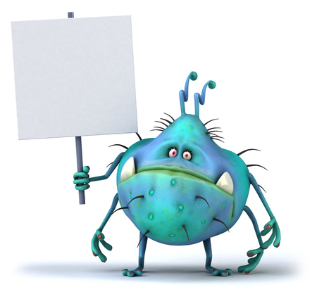 Cartoon germ monster holding signboard Stok Fotoğraf