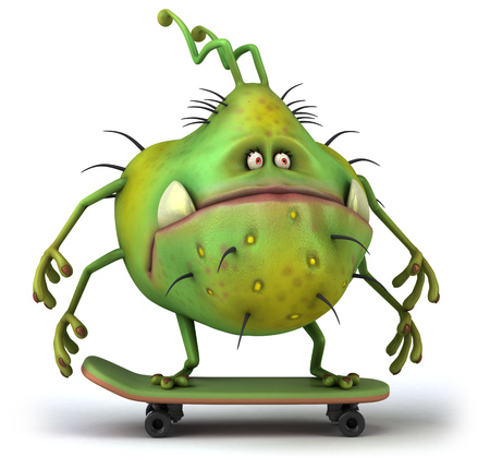 Cartoon germ monster on skateboard Stock Photo