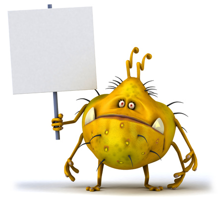 Cartoon germ monster holding signboard Stock Photo