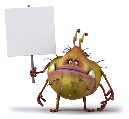 Cartoon germ monster holding signboard Stock Photo